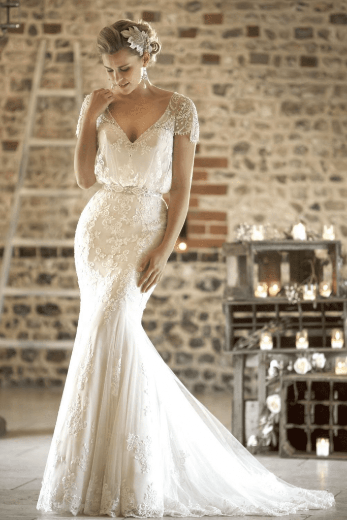 True Bridal 'Gatsby' inspired bridal gown, handcrafted from lace and tulle front