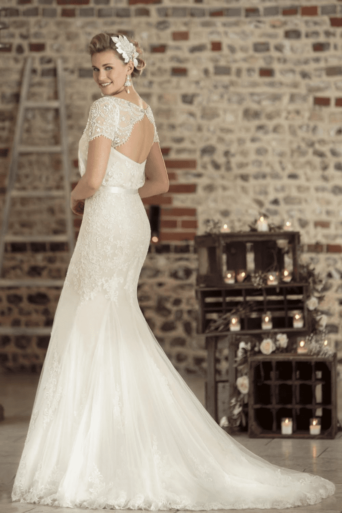 True Bridal 'Gatsby' inspired bridal gown, handcrafted from lace and tulle back