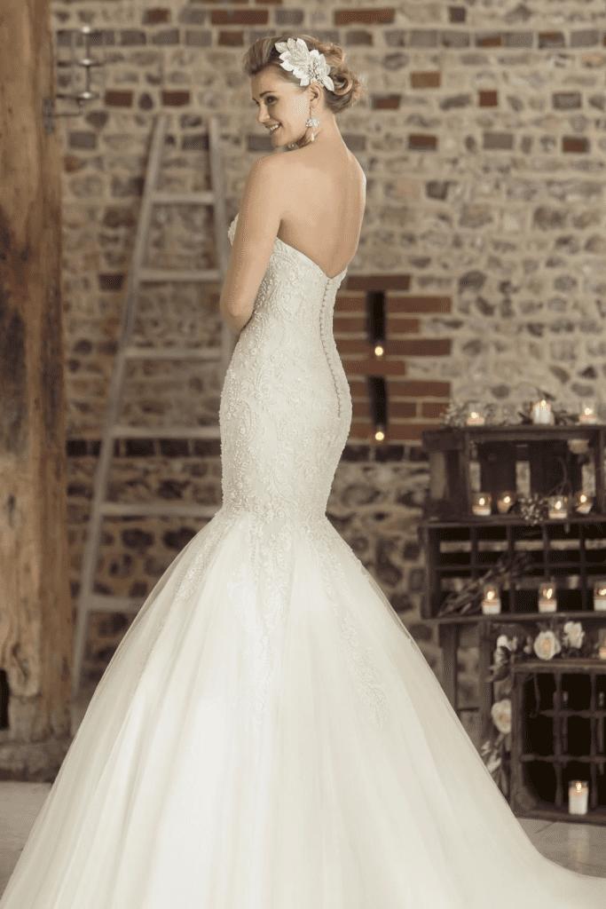 True Bridal Art Deco Beaded Strapless Fishtail Wedding Dress