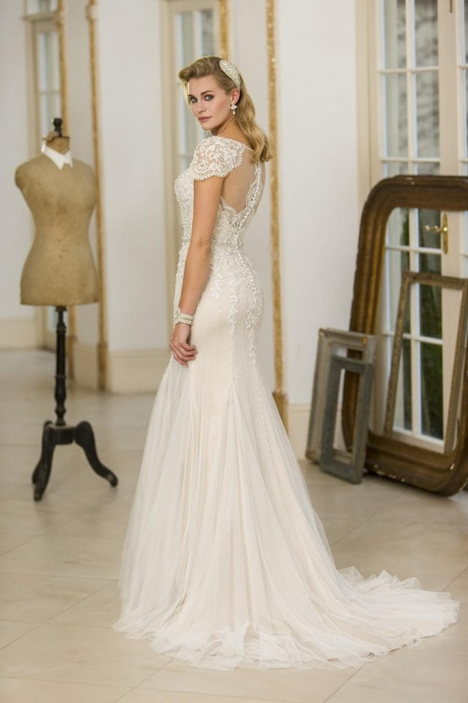 True Bride Fit and Flare Wedding Dress Back
