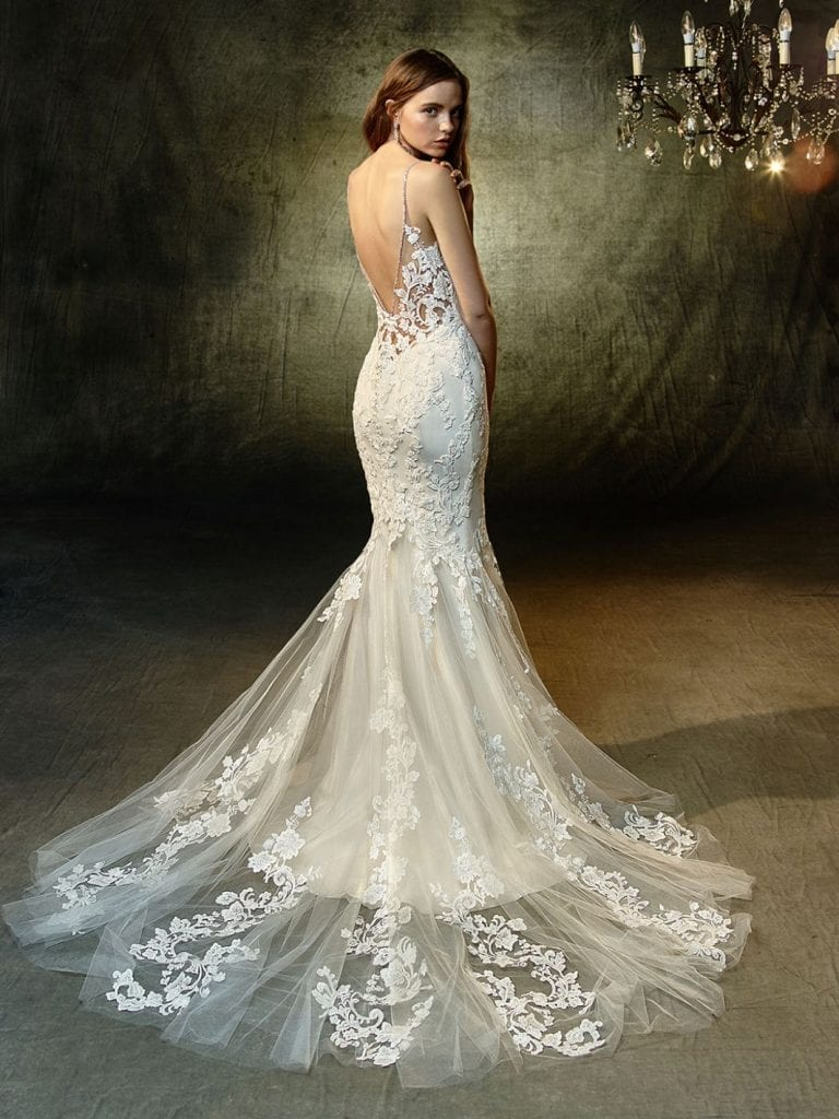 Blue by Enzoani Lavender Wedding Dress Back