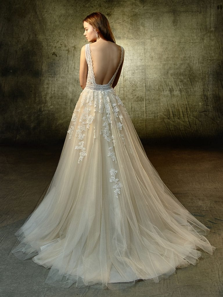 Enzoani Lavender Wedding Dress Back