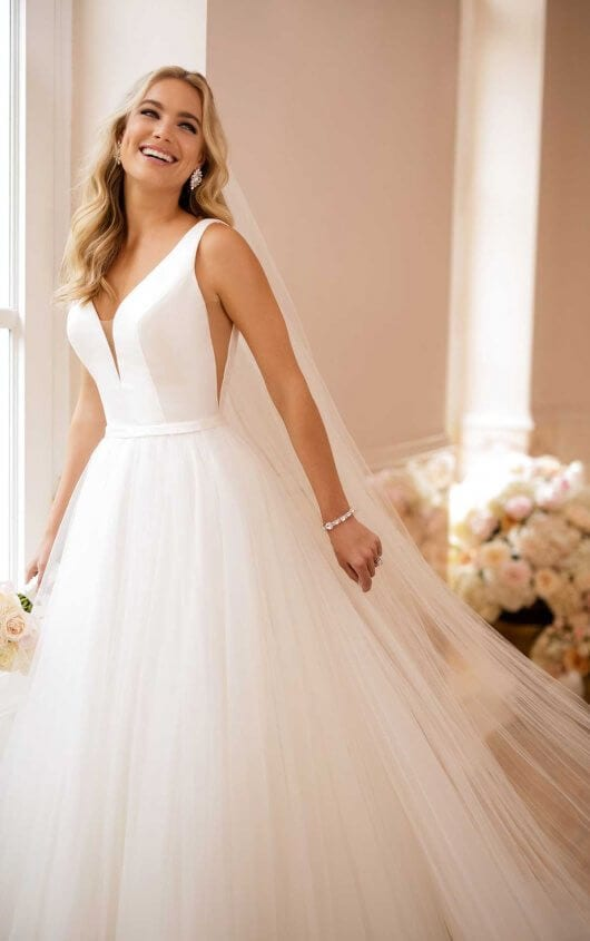 Stella York Strapped Plunging Wedding Dress