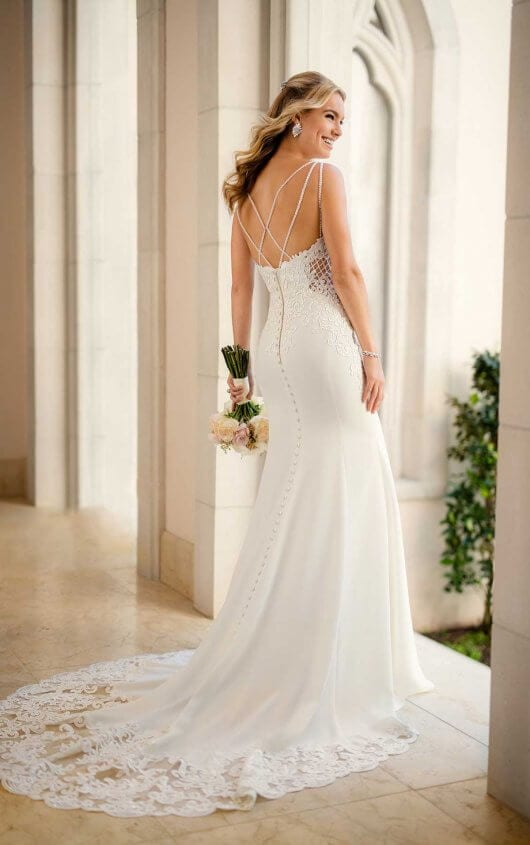 Stella York Lace Detail Back Shoulderless Wedding Dress