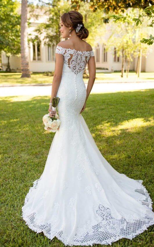 Stella York Lace Detail Back Shoulderless Wedding Dress