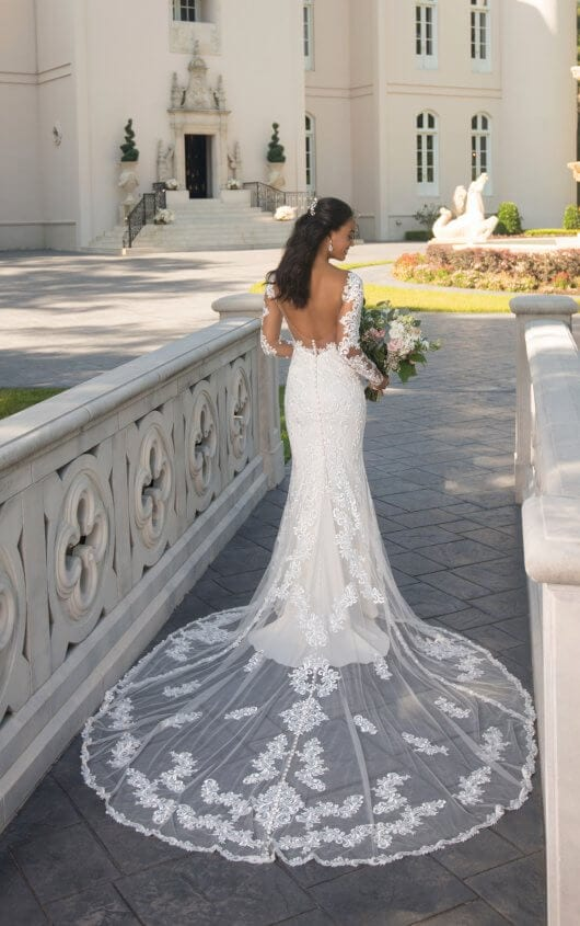 Stella York Long-Sleeved Open Back Wedding Dress
