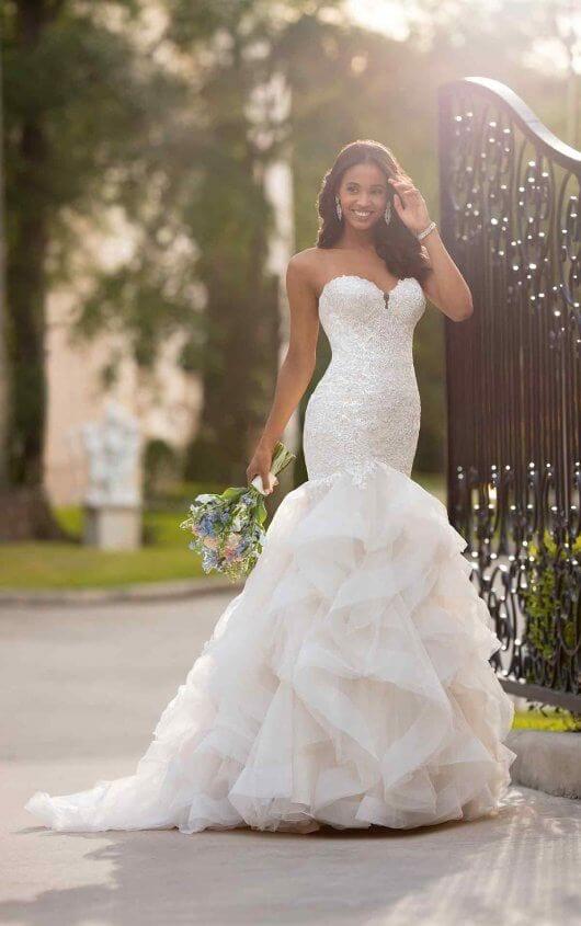 Stella York Lace Bust Chiffon Wedding Dress