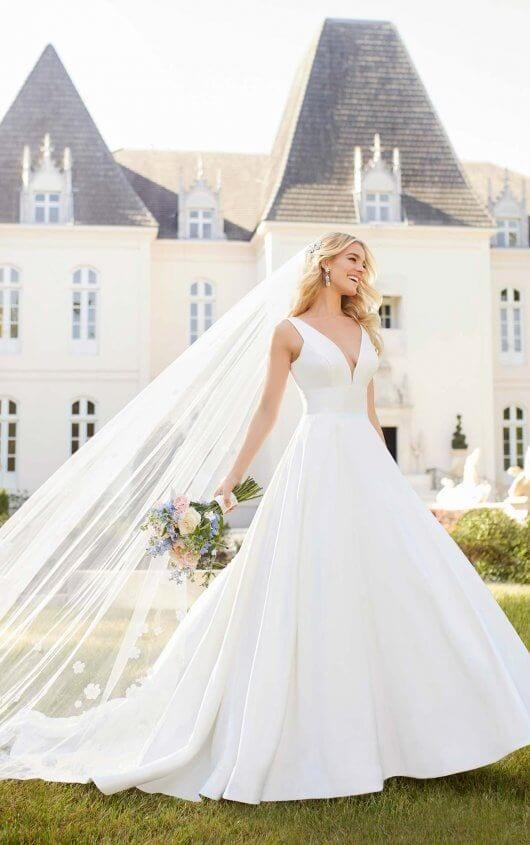 Stella York Strapped Plunging Wedding Dress